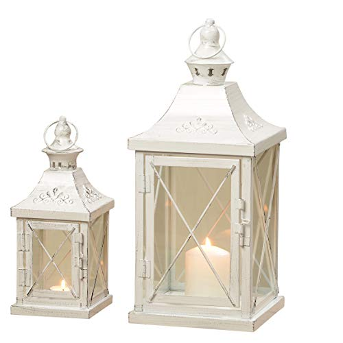 Lanterna 2 parti. Set Metallo/Vetro bianco shabby chic circa 40x17x17cm e 27x11x11cm