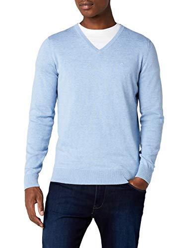 TOM TAILOR Herren Basic V-Neck Pullover, Blau (Clouds Heaven Blue Melange 6497), X-Large
