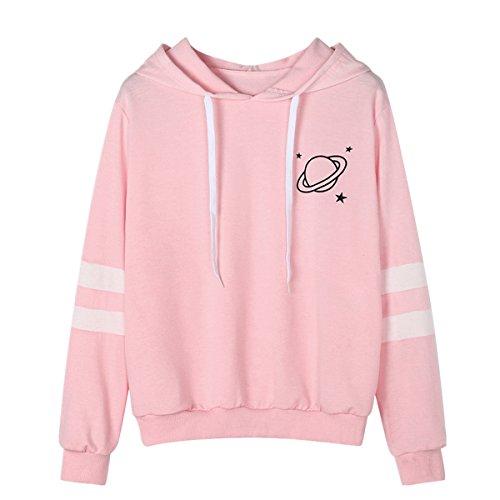 Huihong Damen Hoodie Sweatshirt Herbst Planeten Drucken Langarm Warme Winter Kordelzug Kapuzenpullover Pullover Mädchen Sport Shirt (Rosa, S)