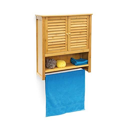 Relaxdays Hängeschrank LAMELL Bambus HBT: 66 x 60 x 20 cm Badschrank zum Hängen mit Handtuchhalter Badezimmerschrank mit 2 Türen und Regalfach Bad Schrank als Oberschrank Badhängeschrank, natur -