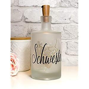 """Leuchtflasche, Flaschenlicht, bottle light""""Schwester Herz"""" mit Korken Lichterkette"""