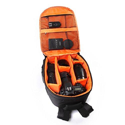 Susenstone Zaino cassa della macchina fotografica DSLR impermeabile per Canon per Nikon per Sony arancione