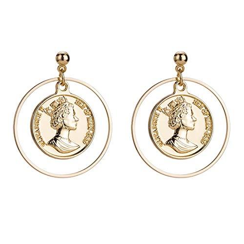 YuLinStyle Legierung Material königin Kopf Ohrringe Ring doppelseitige münze Elegante hohl Geschnitzte Design Hochzeitstag weiblich zubehör Damenketten -