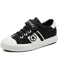 Unisex-Kinder Sneaker Freizeit Low-Top Canvas Halbschuhe Klettverschluss Rutsche Sohle Rundzehen Tragen Schick Sportschuhe Dunkelblau 36 jy8GJ4Hql