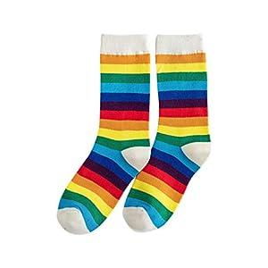 BaZhaHei Damen Mode Bequem Socken Winter Warm Neue Regenbogen gestreiften Haufen Socken in der Tube Baumwollsocken…