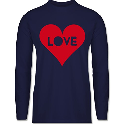 Shirtracer Love - Herz - Love - Herren Langarmshirt Navy Blau