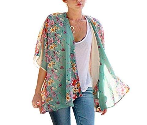 Tonwalk Women Cover up Blouse Boho Floral Printed Chiffon Shawl Kimono Cardigan Tops (XL)