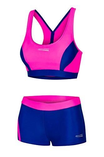 Aqua Speed® Fiona Damen Tankini | Zweiteiler | VITA-Gewebe | Resistent gegen Chlor und Sonnencreme/-öl, Größe:40, Farbe:Neon Pink - Navy -