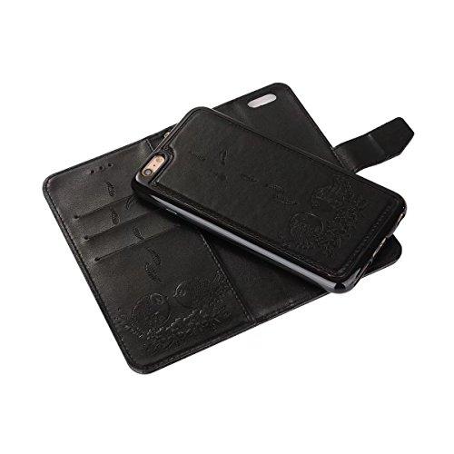 EKINHUI Case Cover Prägender Vogelmuster PU-Ledertasche mit abnehmbarem Rückenlehne, Horizontale Folio Flip Stand Wllet Tasche mit Lanyard & Card Slots für iPhone 6 & 6s ( Color : Red ) Black