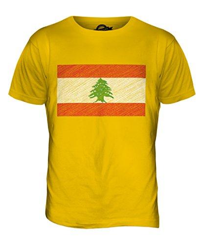 CandyMix Libanon Kritzelte Flagge Herren T Shirt Dunkelgelb