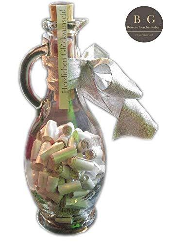 Geldgeschenke kreativ und originell verpacken (Große Flasche mit Sprüchen und Zitaten zur Hochzeit & zum Geburtstag, Dankeschön Geschenk), personalisiert, Farbe - Silber, mit leeren Streifen