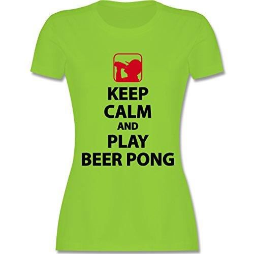 Shirtracer Festival - Keep Calm and Play Beer Pong - Damen T-Shirt Rundhals Hellgrün