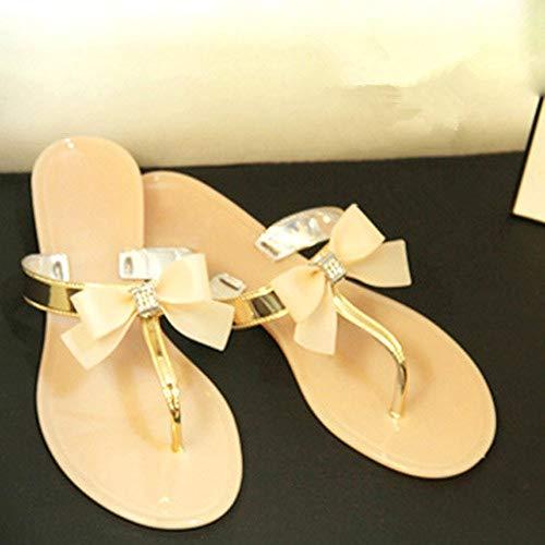 QIMITE Damen-Zehentrenner Frauen Schuhe Jelly Jelly Flip Flop Sandalen Damen Flache Schuhe Frauen Schuhe Gold, Photo Color, 37 -