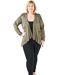 GirlTalkFashions Womens New Plus Size Waterfall Suede Zip Detail Jacket