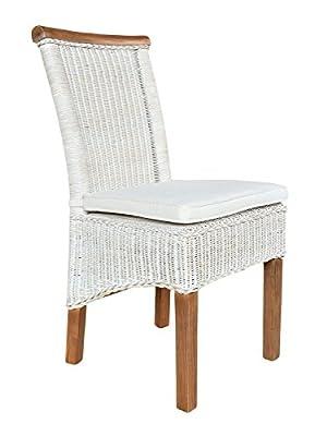 casamia Rattanstuhl-Set Perth 4 Stück weiß, Sitzkissen Leinen weiß mit Sitzkissen von Casamia bei Gartenmöbel von Du und Dein Garten