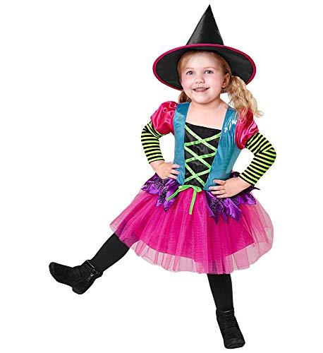 Magische Hexe Kostüm Rosa - shoperama Farbenfrohes Kinder Kostüm Kleine Hexe mit Hut für Mädchen Hexenkostüm Halloween Halloween, Größe:116