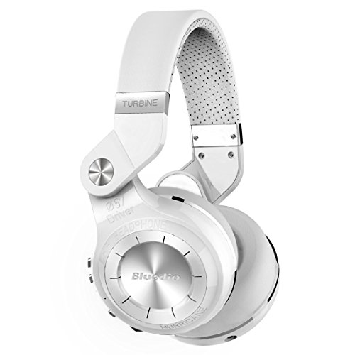 Bluedio t2+ (turbine 2 plus) cuffie bluetooth mp3 integrato, cuffie wireless senza fili con radio fm e lettore mp3; stereo/extra bass/microfono integrato per cellulare, bianco