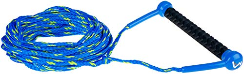 MESLE Wasserski & Wakeboard Leine Combo, schwimmfähig, Eva Soft Griff, Länge 18,3 m, schwimmend, Zug-Seil Wassersport Schleppleine, schwarz-weiß, blau-Lime, Farbe:blau