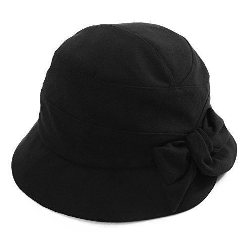 SIGGI Damen weiche Glockenhut 1920s Vintage Faltbarer Cloche Bucket Hut Schwarz