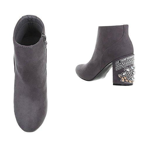 Ital-Design Chaussures femme Bottes et bottines Kitten-Heel Bottines classiques gris V-1-1
