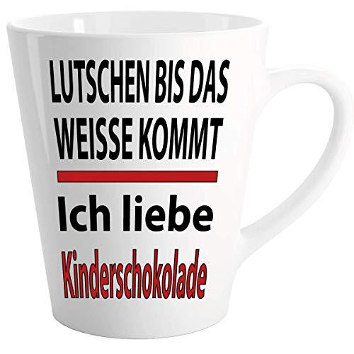 """Lustige Sprüche Tasse Latte Becher Weiss\"""" Kinderschokolade Kinderriegel\"""" Wählen Sie aus 45 Motiven."""