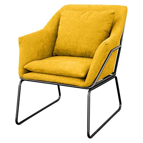 SVITA Josie Sessel gepolstert Beistellsessel Lounge Couch Einzelsofa Relaxsessel Seat Fernsehsessel Stoff inkl. Kissen Stuhl Samt (Gelb, Stoff)