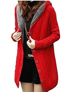 Cardigan de mujer YOGLY Cardigan Suéter de Terciopelo de Largo de Mujeres, Chaqueta con Capucha de Punto Chaqueta...