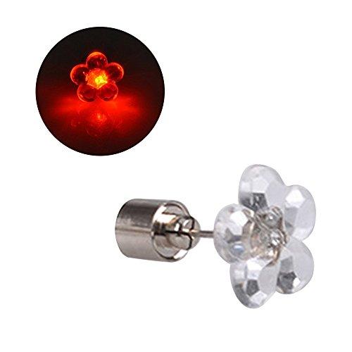 Eizur Moda Unisex LED Fiori Orecchini Lampeggiante Ear Studs Drop Bling brillanti Diamond Earrings Natale e San Valentino Gift Rosso