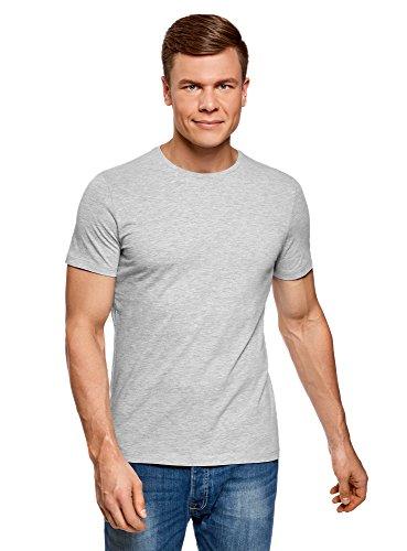 2300 T-shirt Short (oodji Ultra Herren Gerades T-Shirt Basic, Grau, XXL)
