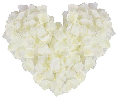 YoungLove Künstliche Rosenblätter aus Seide, 1000 Stück Nonwoven_Ivory - Ivory Seide Werfen