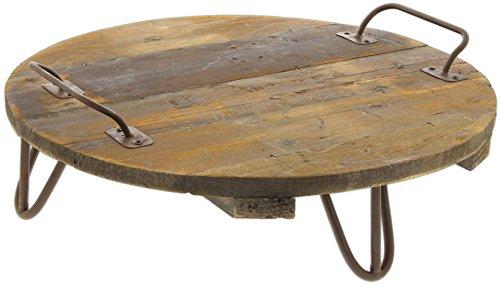 Lucky Winner 43,2cm Rund Holz Plank Dekoratives Tablett mit Metall Griffe und Beine