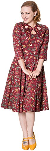 Dancing Days Damen Kleid Autumn Candy Cane Holly Berry Dress Rot M