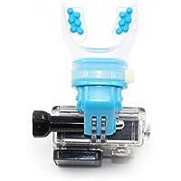 TELESIN Surfing Patinadora Shoot Dummy Bite Soporte de boquilla Adaptador de bolsillo para GoPro Hero 5/4/3 + / 3/2 Cámara, SJ Cam, Xiaomi Yi, Azul