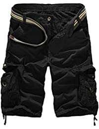 Vertvie Men's Cotton Camo Multi Pockets Casual Cargo Shorts (32, Black)