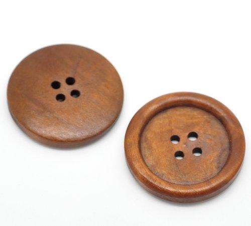 20 Botones redondos de madera 35mm