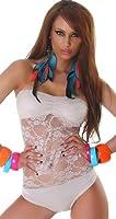 Damen Body Bandeau Spitze Bodysuit Einheitsgröße 32,34,36,38 - verschiedene Farben