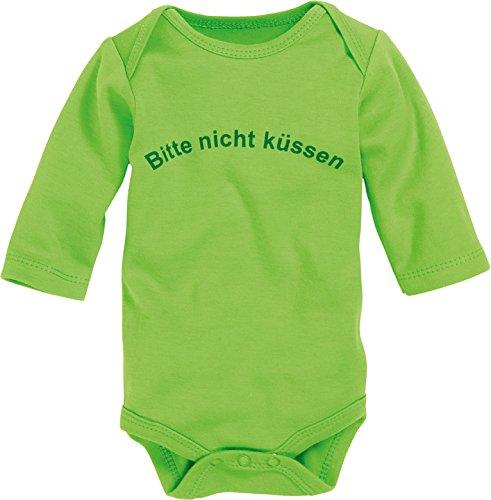 Schnizler Unisex Baby Body Langarm, Bitte nicht küssen, Oeko - Tex Standard 100, Gr. 86 (Herstellergröße: 86/92), Grün (grün 29)