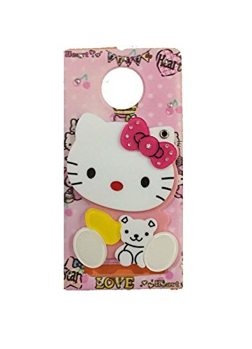 Aarnik Makeup Mirror Hello Kitty with Diamond Stone Work Girls Back Cover for Yuphoria (YU5010) (Colours May Vary)