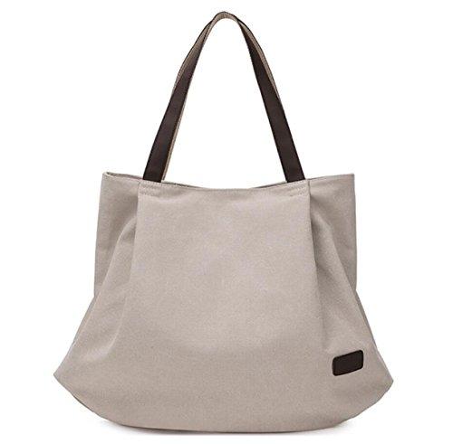 Frauen Segeltuchhandtasche Schultertasche Lässig Einfach Im Freien Großes Volumen Faltbare Tasche Creamy