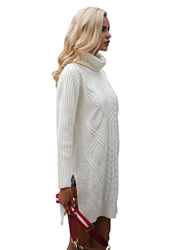 Simplee Apparel Damen Lang Sweater Winter Elegant Langarm Rollkragen Kabel Split Strick Pullover Kleid Jumper Cream