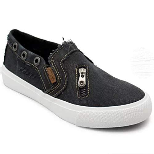 MRULIC Damen Erbsen Schuhe Sommer Flach Mit Boden Lässig Einzelne Schuhe Reißverschluss Einzelne Schuhe(Schwarz,37 EU)