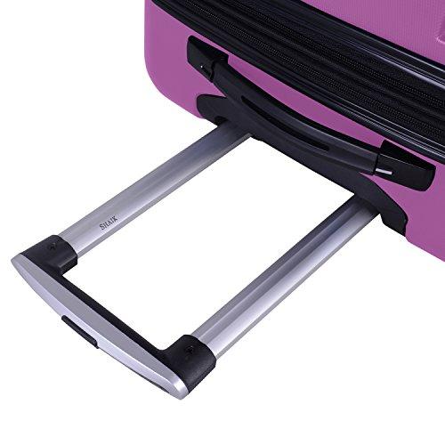 SHAIK® SERIE RAZZER SH002 3-tlg. DESIGN PMI Hartschalen Kofferset, Trolley, Koffer, Reisekoffer, 50/80/120 Liter, 4 Doppelrollen, 25% mehr Volumen durch Dehnfalte (Violett, Set) - 5