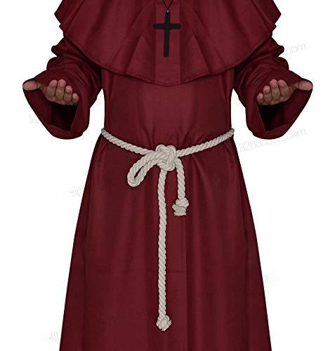 XXF Halloween Cosplay Kostüm Mittelalterlichen Mönch Kostüm Mönch Gewand Hexe Kostüm Priester Kostüm Christian Anzug,Rot,S (Christian Kostüme Für Kinder)