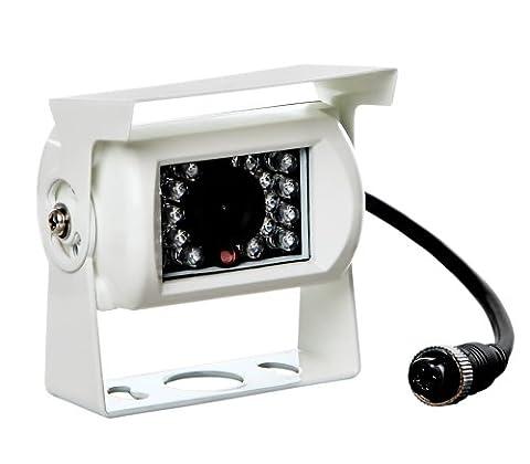 Farb Rückfahrkamera in Weiß mit Nachtsicht und IP67 für alle Monitore & für WT-7RM Systeme (b. Rückfahrkamera Weiß ohne Verlängerungskabel)