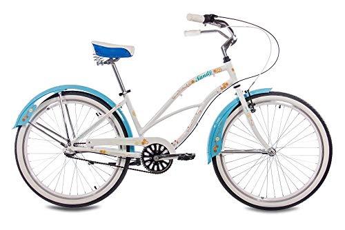 CHRISSON 26 Zoll Beachcruiser Sandy Weiss blau mit 3 Gang Shimano Nexus Nabenschaltung, Damenfahrrad im Retro Look, Vintage Cruiser Bike