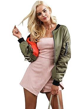 Simplee vestidos de saten de las mujeres chaqueta bomber chaqueta acolchada con cremallera corta chaqueta de motociclista