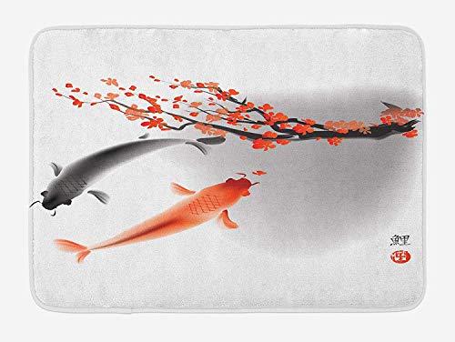 Japanese Bath Mat, Koi Carp Fish Couple Swimming with Cherry Blossom Sakura Branch Culture Design, Plush Bathroom Decor Mat with Non Slip Backing, 23.6 W X 15.7 W Inches, Orange Grey -