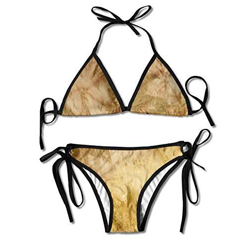 Castor Bean Silk Fashion Women's Sexy Harness Printing Bikini Set Beachwear Padding Swimsuit Bathing Suit Halterneck Top and Triangle Top Bikini Sliding Swimwear -