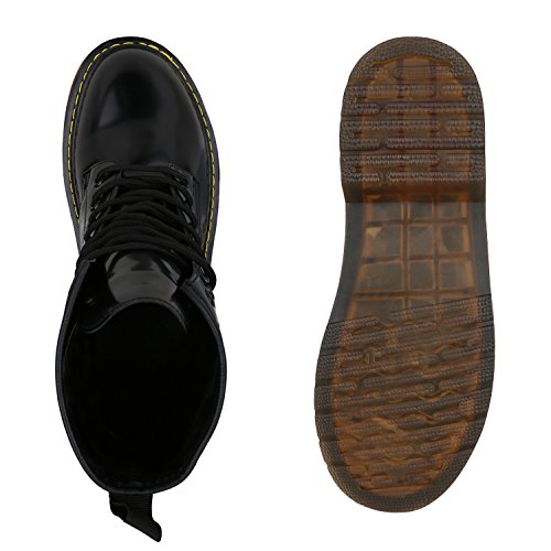 Stiefelparadies Damen Worker Boots Stiefeletten Booties Lack Knöchelhohe Stiefel Boots Schuhe Profilsohle Flandell Schwarz Agueda