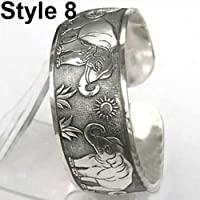 nuiOOui131 Vintage Elephant Carved Open Bangle Cuff Wide Bracelet Adjustable Daily Life Club Dating Jewelry Charm Gift Style 8